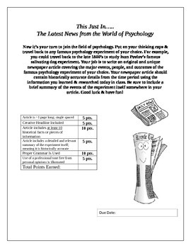This Just In (Psychology Newspaper Article)