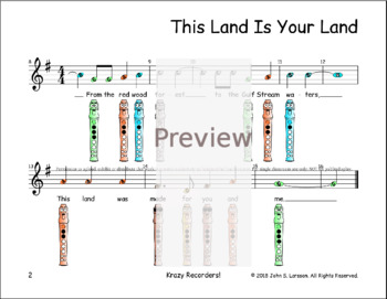 This Land Is Your Land Sheet Music Recorder