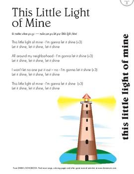 This Little Light of Mine - Free Lyric Sheet