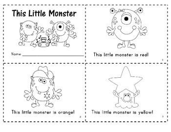 """""""This Little Monster"""" Predictable Easy Reader"""