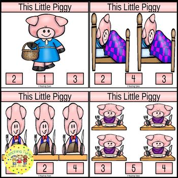 This Little Piggy Count and Clip Nursery Rhymes Task Cards