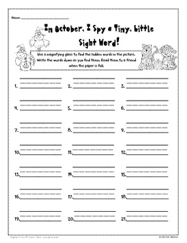 This October I Spy a Tiny, Little Sight Word!
