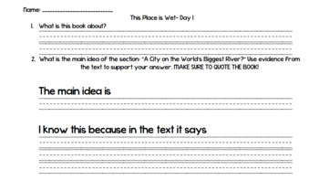 This Place is Wet (Level R) Guided Reading Lesson Plan