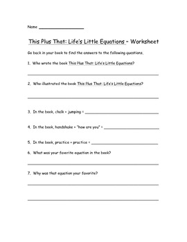 This Plus That: Life's Little Equations Worksheets