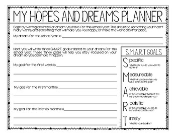 Hopes and Dreams Banners - Back To School Goal Setting Activity & Read Aloud