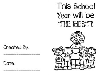 This School Year Will Be the Best! by Winters - Extension Activity