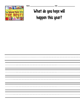 This School Year Will Be the Best -- student response sheet