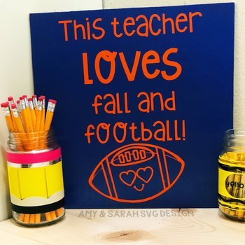 This Teacher Love Fall and Football SVG Design