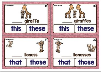 ESL Grammar Task Cards: This/These or That/Those?