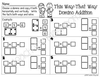 This Way-That Way Domino Addition Math Center