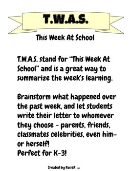 """This Week At School or """"TWAS"""" - Writing Activity K-3"""