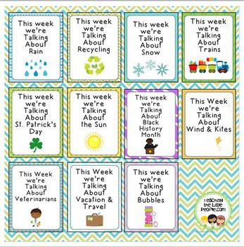 """This Week We're Talking About"" Theme Unit Signs, New Style, Set Four"