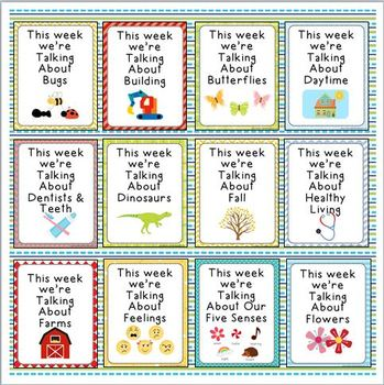 """This Week We're Talking About"" Theme Unit Signs, New Style, Set One"