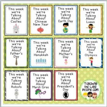 """This Week We're Talking About"" Theme Unit Signs, New Style, Set Three"