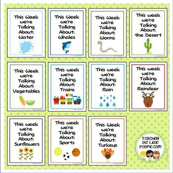 """This Week We're Talking About"" Theme Unit Signs, Original Version, Set Four"