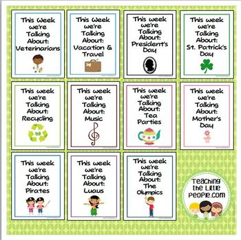 """""""This Week We're Talking About"""" Theme Unit Signs, Original Version, Set Two"""