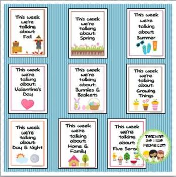 """This Week We're Talking About"" Theme Unit Signs, Original Version, Set One"