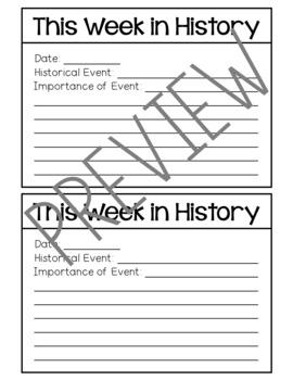 This Week in History - Social Studies Student Research - BONUS FREEBIE INCLUDED!