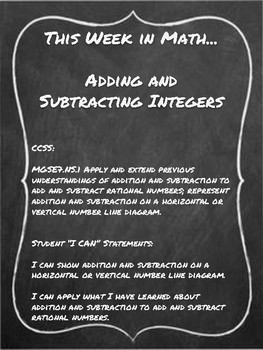 This Week in Math...Adding and Subtracting Integers