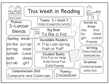 This Week in Reading for California Treasures (1st Grade)