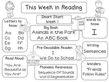 This Week in Reading for California Treasures (Kindergarten)