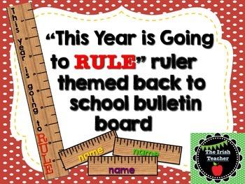 Back to School Bulletin Board Editable Ruler Themed