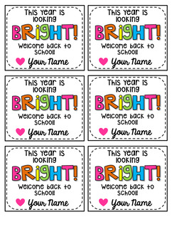 Bright Back to School Gift Tags | For Glow Sticks or Highlighters  / EDITABLE