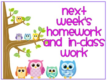 This and Next Week Homework and In-Class Work Signs - Owls