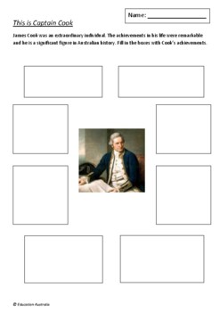 This is Captain Cook by Tania McCartney and Christina Booth - 5 Worksheets