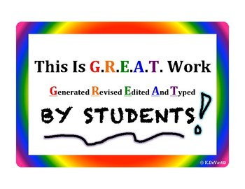 This is G.R.E.A.T. Work By Students- Bulletin Board Sign