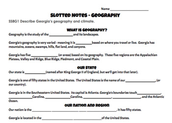 This is Georgia -Geography Presentation with Slotted Notes - Georgia Studies GSE