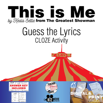This is Me - Guess the Song Lyrics - The Greatest Showman CLOZE Activity