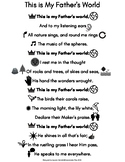 This is My Father's World- Hymn Printable for Pre/Early Readers