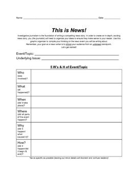 This is News! Graphic Organizer