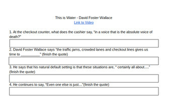 This is Water - David Foster Wallace - Short Film Comprehension Questions