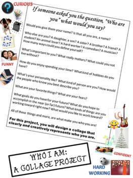 """This is """"Who I Am"""" - A Collage Project for Grades 7-9 (Great for Back to School)"""