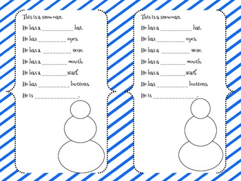 This is a Snowman - Little book study on adding adjectives