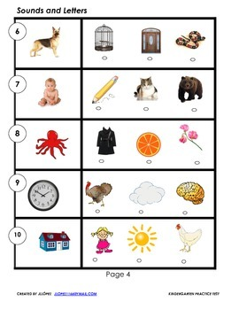 This is a practice test for Kindergarten or First Grade