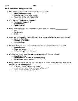 This is the Place for Me comprehension questions