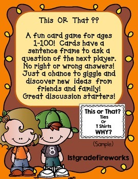 This or That...Family Fun Discussion Cards