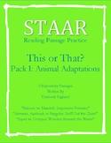 STAAR Reading Skills-Animal Adaptations-Full Expository/Informational Passages