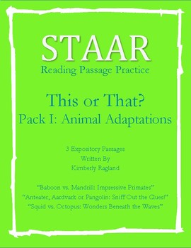 STAAR Reading Skills-Animal Adaptations-Full Expository/Informational Passages