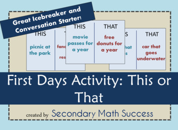 This or That Student Icebreaker First Days Activity