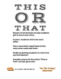 This or That?  Worksheet Collection. Getting To Know Each Other