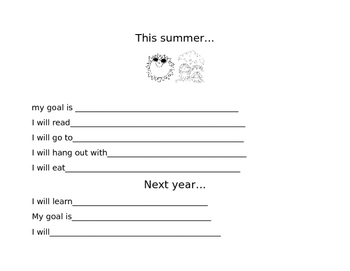 This summer writing activity
