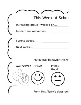 This week at school parent report home