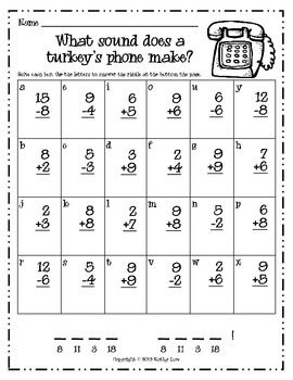 Thanksgiving Riddles -- Addition & Subtraction
