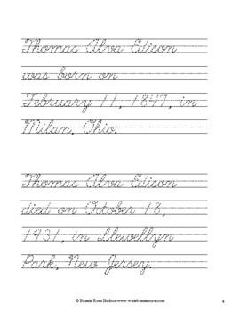 Thomas Alva Edison Coloring Book with Cursive Copywork