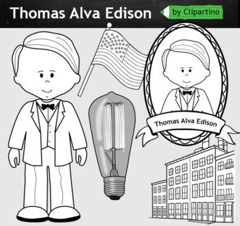 Thomas Alva Edison clipart BW - inventors Clip Art