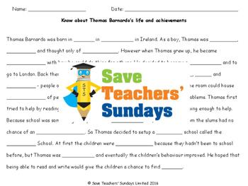 Thomas Barnardo Lesson Plan and Worksheets